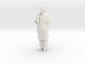 1/24 Scientist in Coat with Big Coffee in White Natural Versatile Plastic