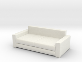 Modern Miniature 1:48 Sofa in White Natural Versatile Plastic: 1:48 - O