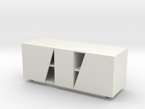 Modern Miniature 1:24 Sideboard in White Natural Versatile Plastic: 1:24