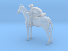 S Scale Cowboy and Horse in Smooth Fine Detail Plastic
