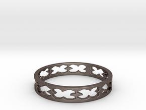 4-Leaf Clover (Size 6) in Polished Bronzed Silver Steel