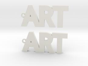 Modern ART Earrings in White Natural Versatile Plastic: Medium