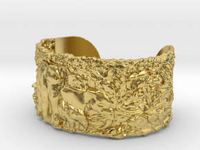 Elephants Bangle Bracelet in Polished Brass