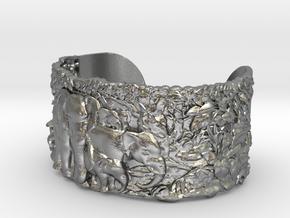 Elephants Bangle Bracelet in Natural Silver