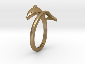 Dolphin Ring in Polished Gold Steel