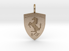Ferrari Emblem Pendant in Polished Gold Steel: Small
