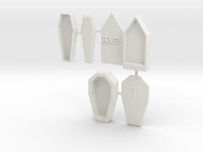 S Scale 3 Coffins in White Natural Versatile Plastic