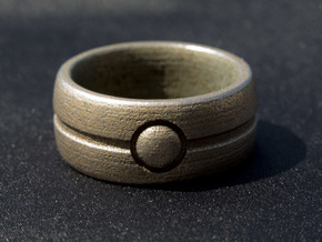 One Bead Ring - Size 23 in Polished Bronzed Silver Steel