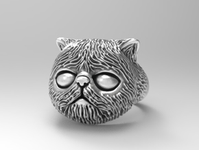 Persian kitten ring size 7 in Natural Silver