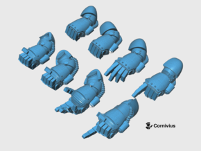 8x Base - Static Energy Fists [Group 1] in Smooth Fine Detail Plastic