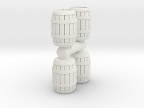 Wooden Barrel (x4) 1/72 in White Natural Versatile Plastic