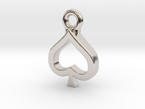 Spade Charm / Pendant / Trinket in Platinum