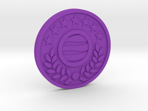 The World Coin in Purple Processed Versatile Plastic
