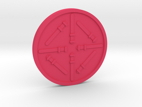 Eight of Wands Coin in Pink Processed Versatile Plastic