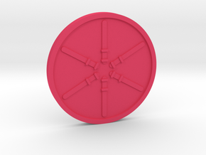Six of Wands Coin in Pink Processed Versatile Plastic