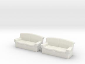 S Scale Couchs in White Natural Versatile Plastic