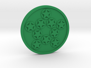 Ten of Pentacles Coin in Green Processed Versatile Plastic