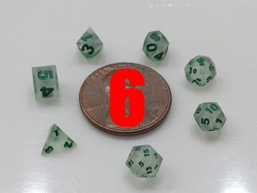 6x Super Tiny Polyhedral Dice Set, V3 in Smoothest Fine Detail Plastic