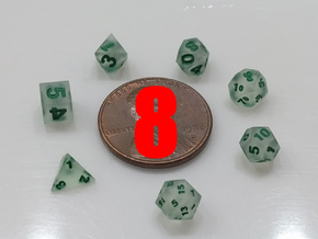 8x Super Tiny Polyhedral Dice Set, V3 in Smoothest Fine Detail Plastic