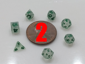 2x Tiny Polyhedral Dice Set, V3 (1.25x Scale) in Smoothest Fine Detail Plastic