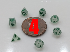 4x Tiny Polyhedral Dice Set, V3 (1.25x Scale) in Smoothest Fine Detail Plastic