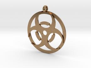 Biohazard necklace charm in Natural Brass