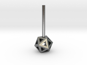 Lawal 54mm v1 skeletal icosahedron stud earring in Natural Silver