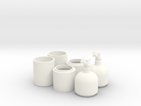 1/8 One Pair of Nitrous Bottles with Valves in White Processed Versatile Plastic