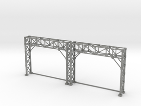 N Scale Signal Bridge Gantry 2 tracks 2pc in Gray PA12