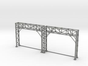 N Scale Signal Bridge Gantry 2 tracks 2pc in Gray PA12
