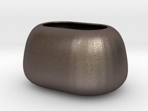 Modern Miniature 1:24 Vase  in Polished Bronzed-Silver Steel: 1:24