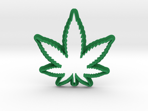 Weed Leaf Cookie Cutter in Green Processed Versatile Plastic