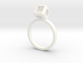 "JEWELRY Ring size 9 (19 mm) with HyperCube ""stone"" in White Processed Versatile Plastic"