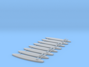 Set of 8 - Surfboards  in Smooth Fine Detail Plastic