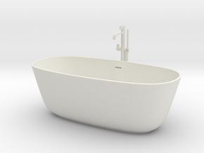 Freestanding bathtub with tap, 1:12, 1:24 in White Natural Versatile Plastic: 1:24