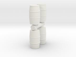Blue Chemical Barrel (x4) 1/72 in White Natural Versatile Plastic