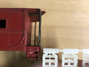 S scale LV Caboose Steps in Smoothest Fine Detail Plastic: 1:64 - S