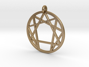 Holy Mountain Pendant Medium in Polished Gold Steel