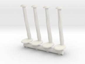 Tellermine Post (x4) 1/64 in White Natural Versatile Plastic