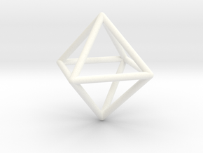 Simple Wireframed Octahedron in White Processed Versatile Plastic