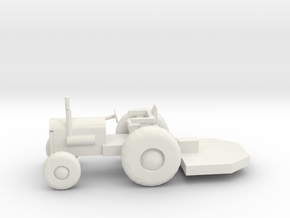 O Scale Tractor with Bushhog in White Natural Versatile Plastic