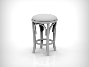 Stool 02. 1:24 Scale x4 Units in Smooth Fine Detail Plastic