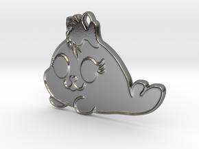 Snowball – cute punk seal in Polished Silver: Medium