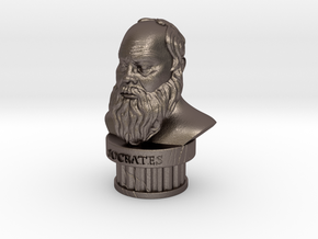 Socrates Bust in Polished Bronzed Silver Steel