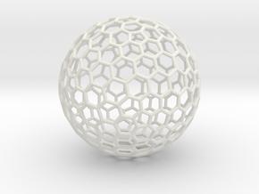 Goldberg Polyhedron[3,2], round struts in White Natural Versatile Plastic