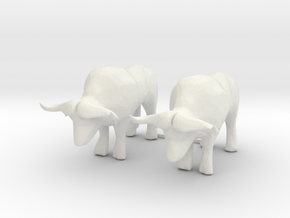 O Scale Oxen in White Natural Versatile Plastic