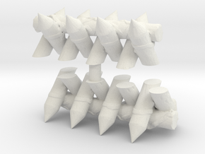 Spiked Barricade (x2) 1/144 in White Natural Versatile Plastic