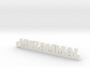 MUZAMMAL_keychain_Lucky in White Processed Versatile Plastic