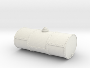 S Scale Singe Cell Fuel Tank (End Drain) in White Natural Versatile Plastic