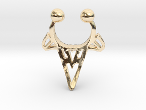 Tribal Arrowhead Nose Ring in 14K Yellow Gold